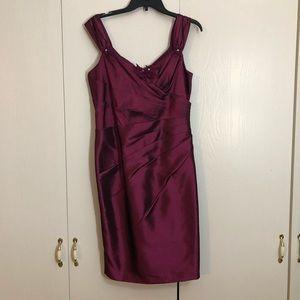 David's Bridal Purple Pleated Cocktail Dress